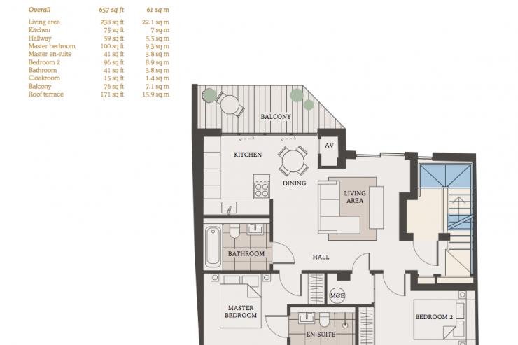 Lovelydays luxury service apartment rental - London - Fitzrovia - Newman Street IV - Lovelysuite - 2 bedrooms - 2 bathrooms - Floorplan - rent luxury apartment london - 54b3cbd846a0 - Lovelydays