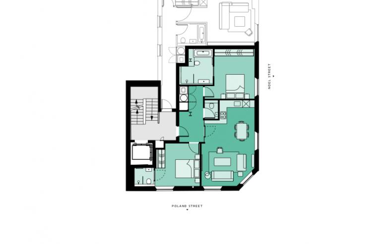 Lovelydays luxury service apartment rental - London - Soho - Noel Street VI - Lovelysuite - 2 bedrooms - 2 bathrooms - Floorplan - luxury apartment in london - 1fba727410bd - Lovelydays