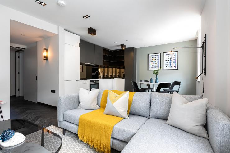 Lovelydays luxury service apartment rental - London - Soho - Oxford Street V - Lovelysuite - 1 bedrooms - 1 bathrooms - Luxury living room - 9b451f11645b - Lovelydays