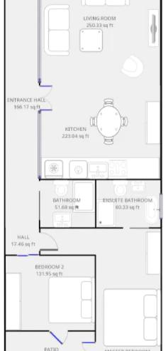 Lovelydays luxury service apartment rental - London - Soho - Royalty Mews III - Partner - 2 bedrooms - 2 bathrooms - Floorplan - 71fbfb649f64 - Lovelydays